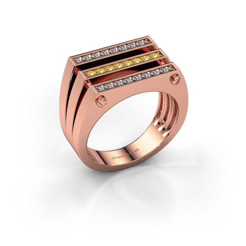 Heren ring Jauke 585 rosé goud gele saffier 1.7 mm