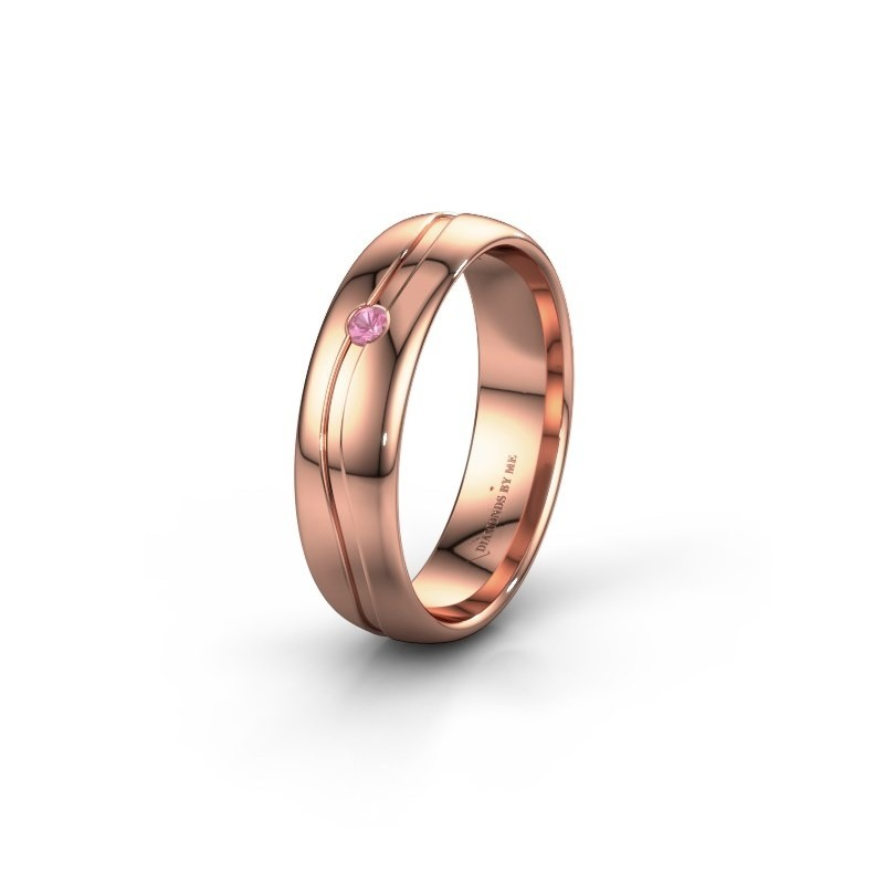 Wedding ring WH0905L35X 585 rose gold pink sapphire ±5x1.7 mm