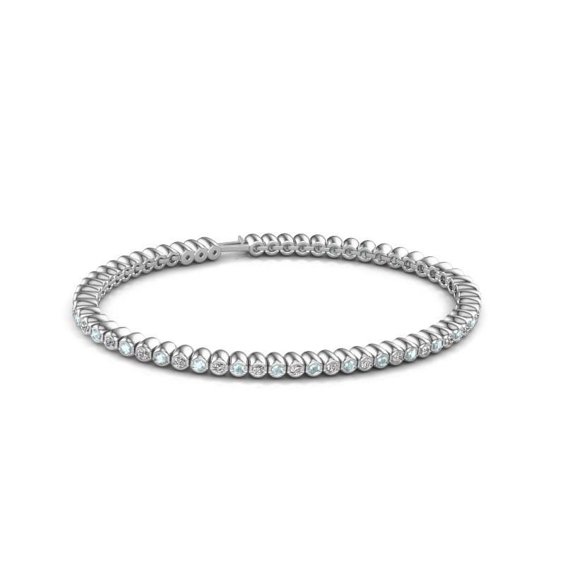 Tennisarmband Trix 585 witgoud aquamarijn 2 mm