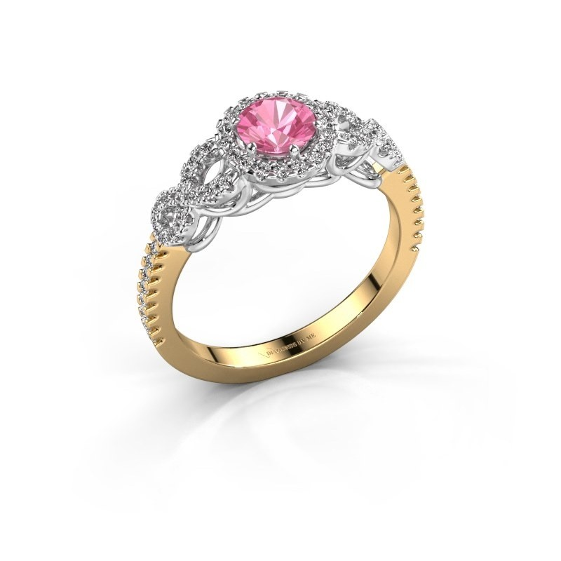 Engagement ring Sasja 585 gold pink sapphire 5 mm