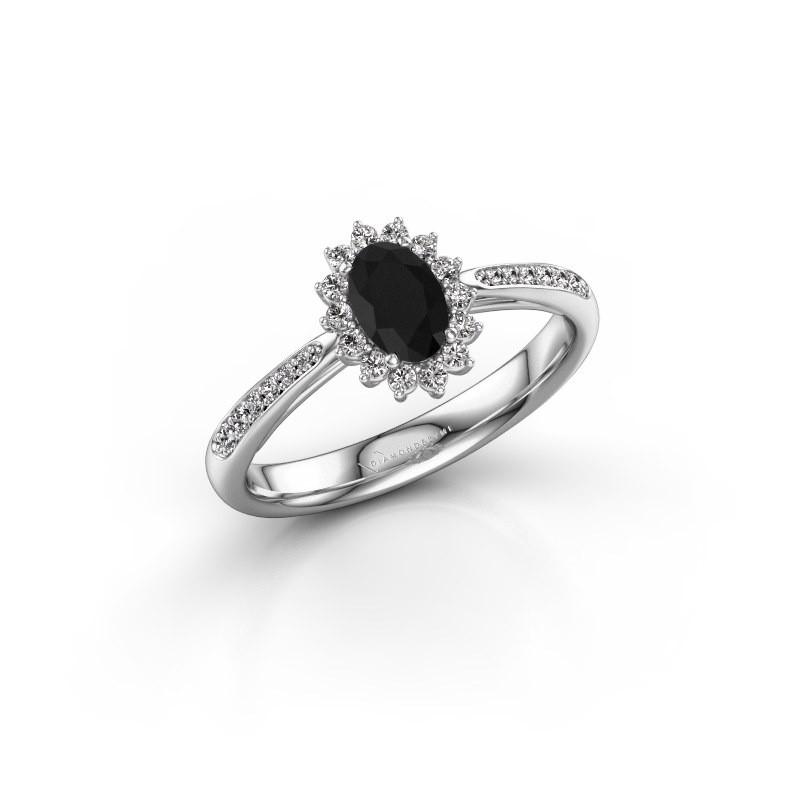 Verlovingsring Tilly 2 585 witgoud zwarte diamant 0.60 crt