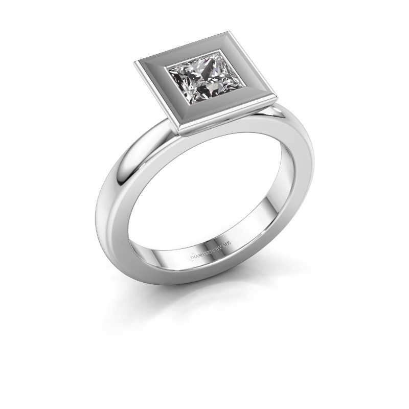 Stapelring Eloise Square 585 witgoud zirkonia 5 mm