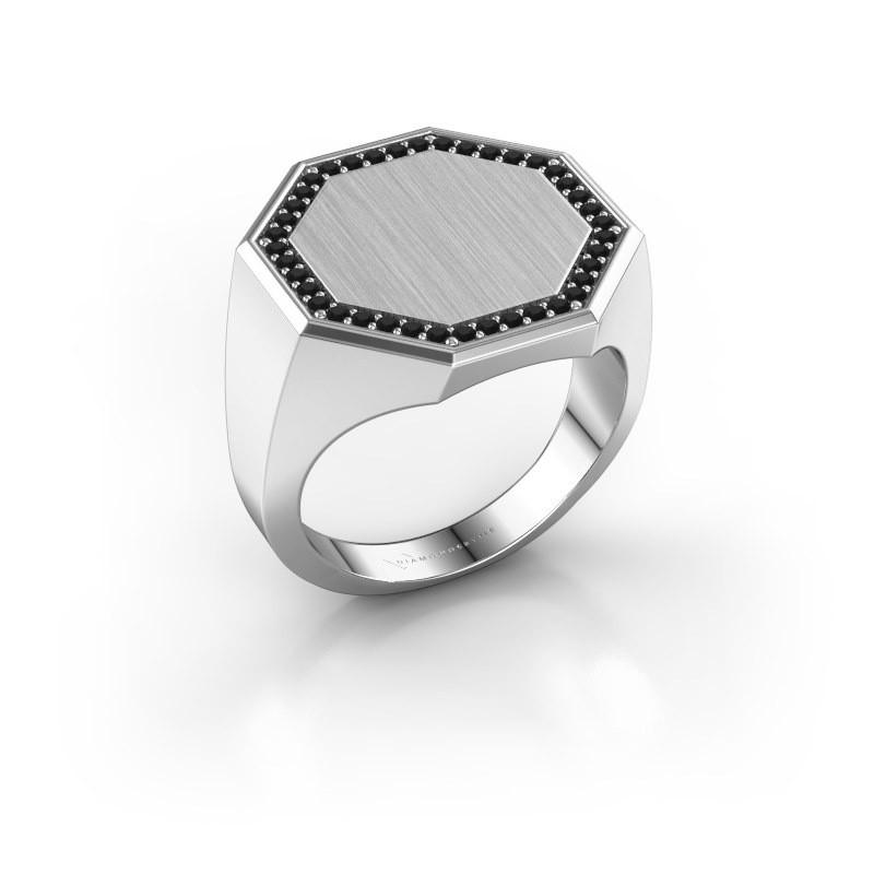 Men's ring Floris Octa 4 925 silver black diamond 0.36 crt