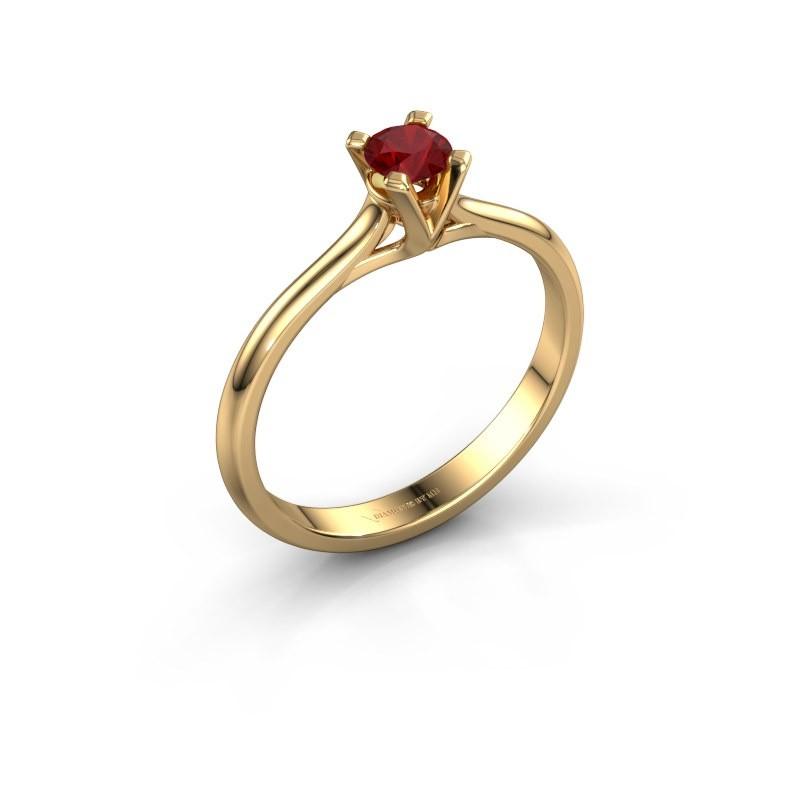 Verlovingsring Isa 1 375 goud robijn 4 mm