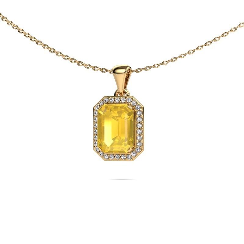 Ketting Dodie 375 goud gele saffier 9x7 mm