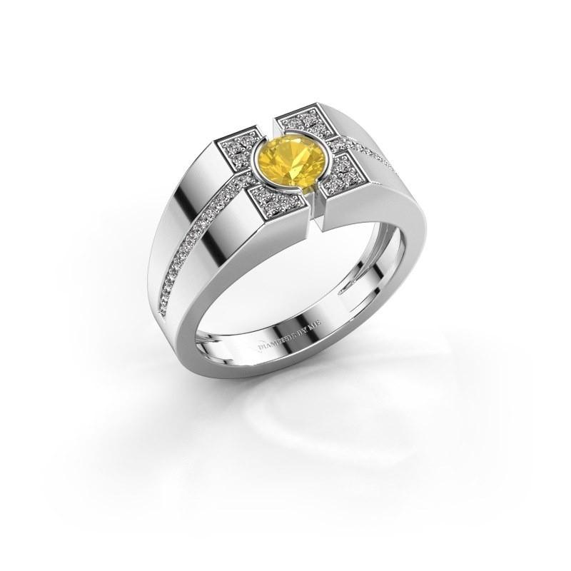 Men's ring Thijmen 375 white gold yellow sapphire 5 mm
