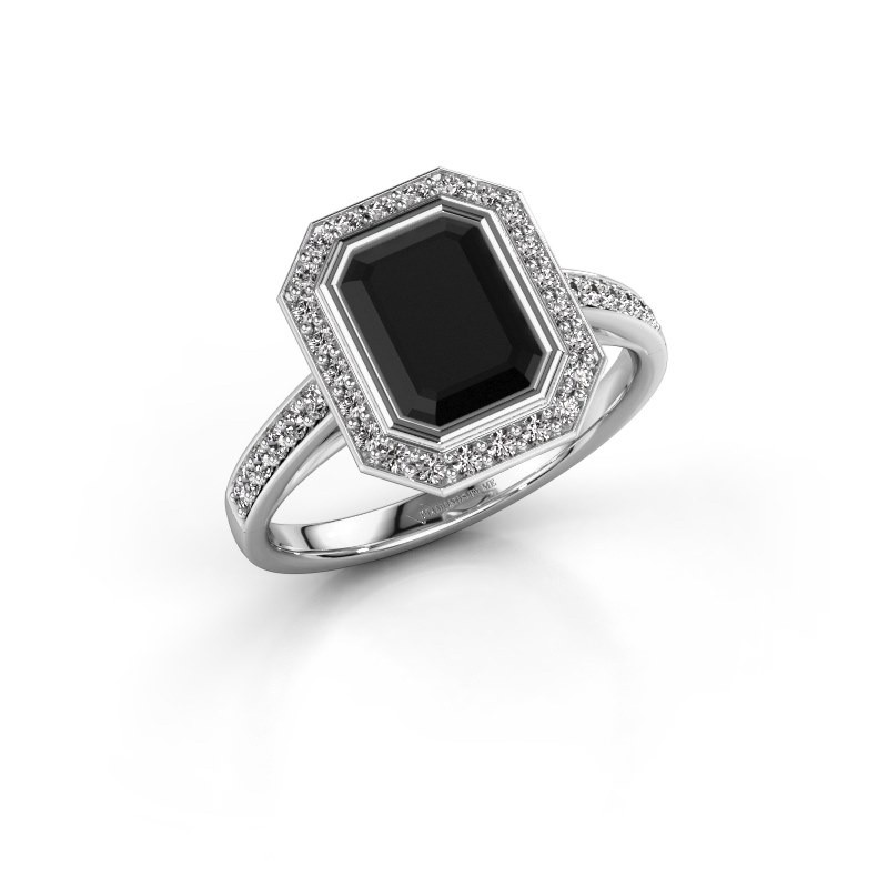 Verlovingsring Noud 2 EME 925 zilver zwarte diamant 2.424 crt