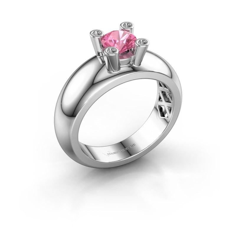 Ring Cornelia Round 585 white gold pink sapphire 5 mm