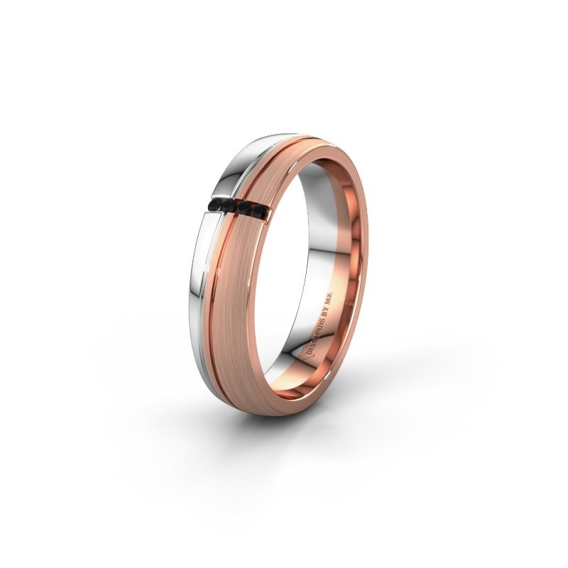 Weddings ring WH0909L25X 585 rose gold black diamond ±5x1.5 mm