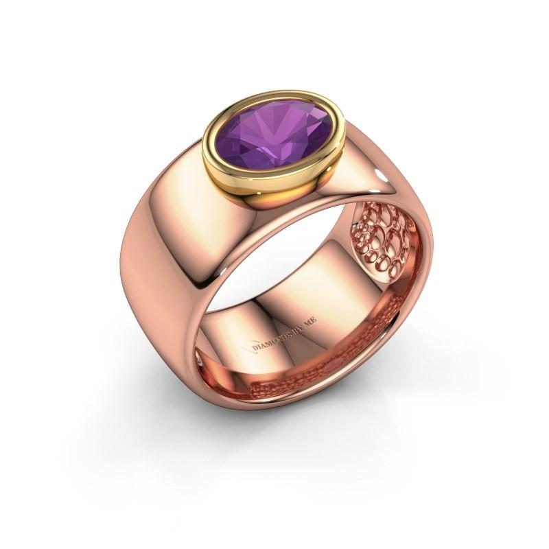 Ring Anouschka 585 Roségold Amethyst 8x6 mm