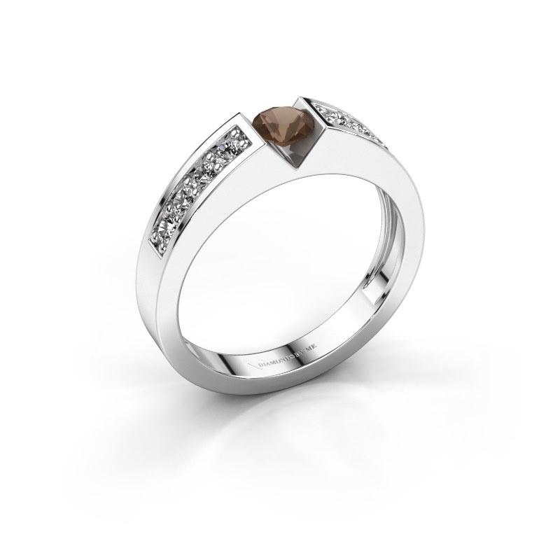 Engagement ring Lizzy 2 585 white gold smokey quartz 4.2 mm