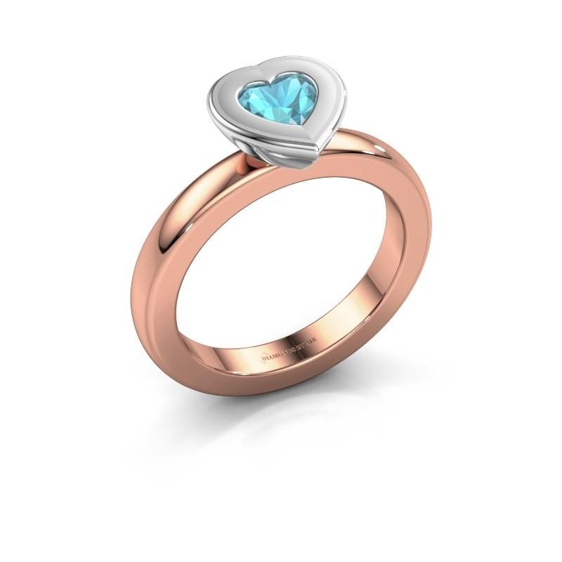 Stapelring Eloise Heart 585 rosé goud blauw topaas 5 mm