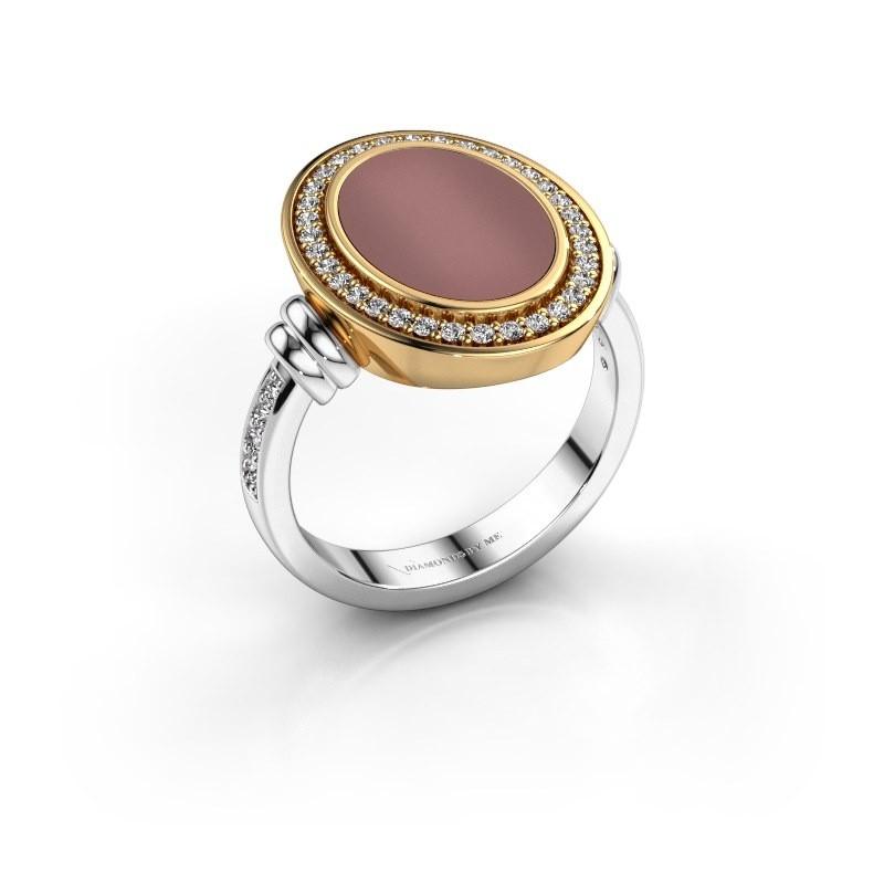 Heren ring Servie 585 witgoud carneool 14x10 mm