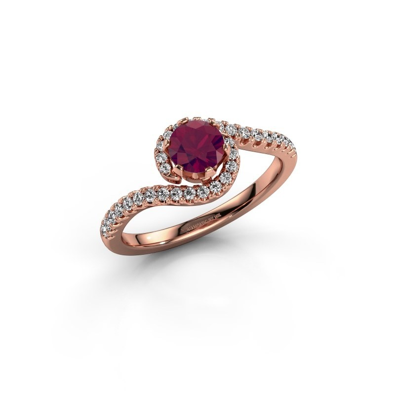 Engagement ring Elli 375 rose gold rhodolite 5 mm