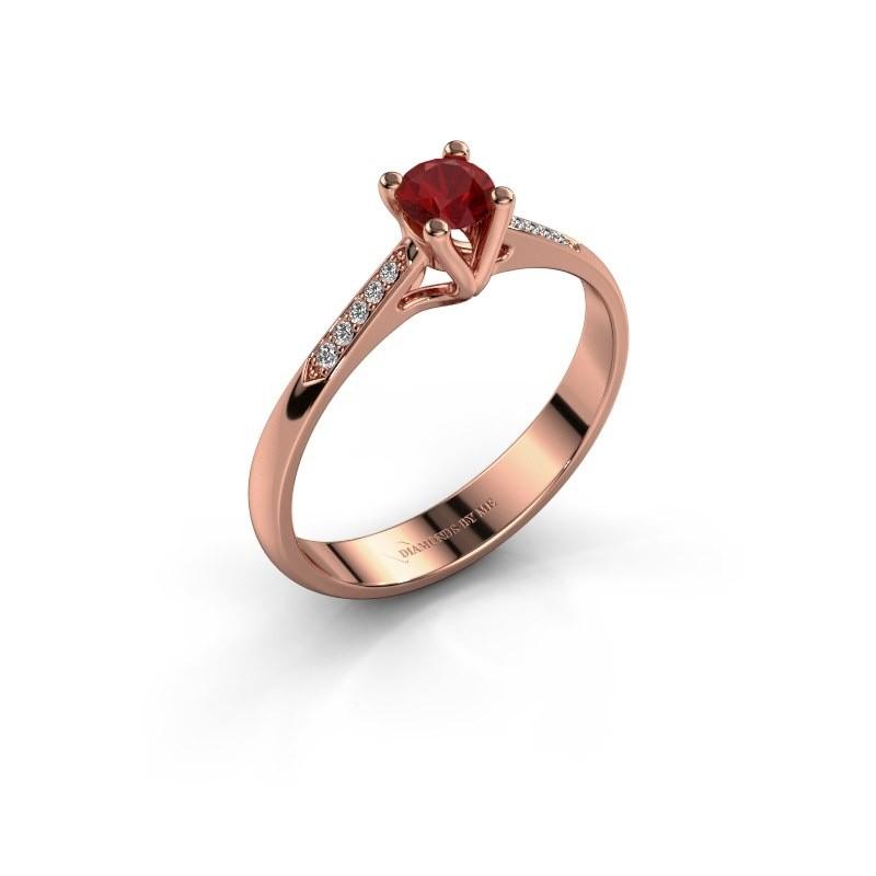 Promise ring Janna 2 375 rosé goud robijn 4 mm