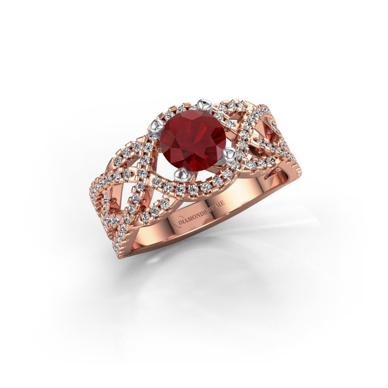 Verlovingsring Jeni 585 rosé goud robijn 6.5 mm