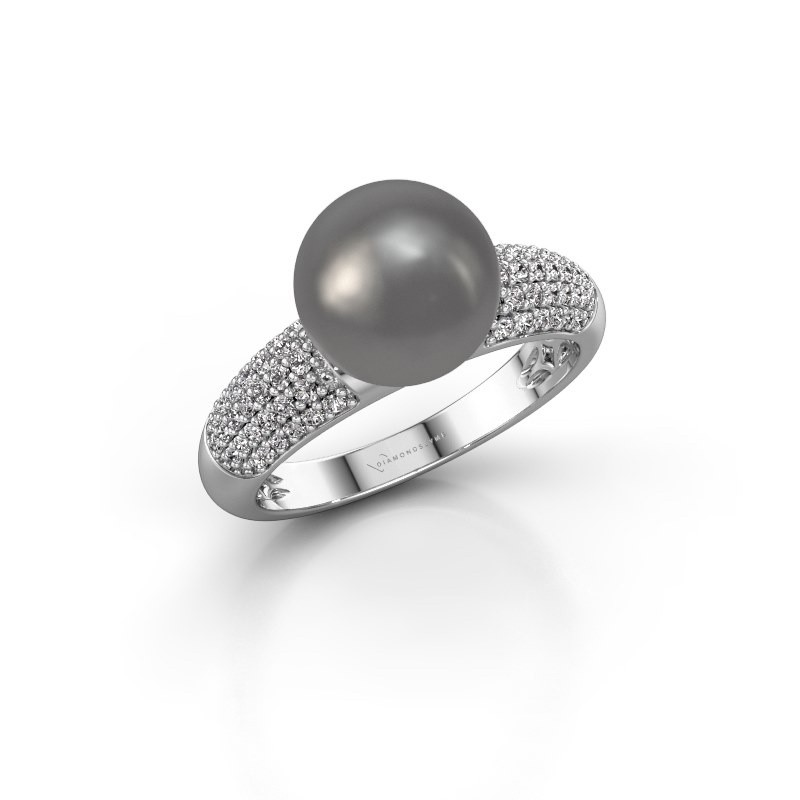 Ring Anisa 375 white gold grey pearl 9 mm
