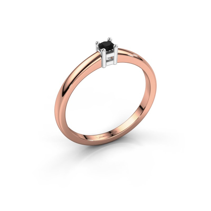 Promise ring Eline 1 585 rosé goud zwarte diamant 0.12 crt