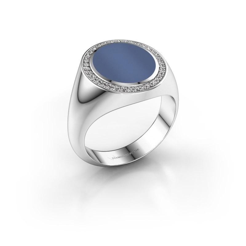 Zegel ring Adam 3 950 platina blauw lagensteen 13x11 mm