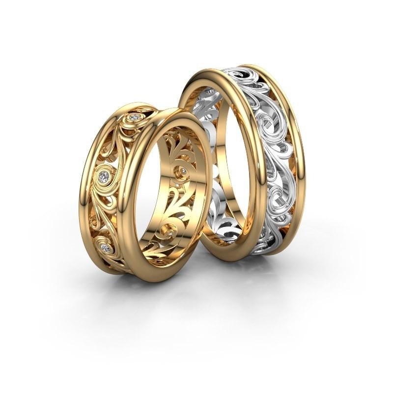 Trouwringen set WHR0240LM ±7x2.1 mm 14 karaat goud diamant 0.01 crt