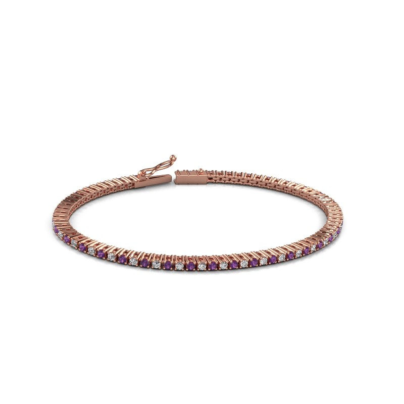 Tennisarmband Karin 2 mm 375 rosé goud amethist 2 mm