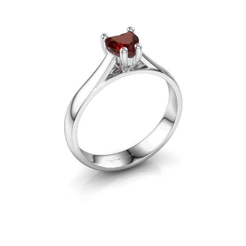 Engagement ring Sam Heart 925 silver garnet 5 mm