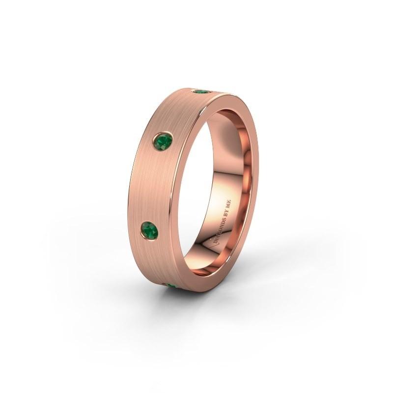 Trouwring WH0105L15BM 375 rosé goud smaragd 2 mm ±5x2 mm