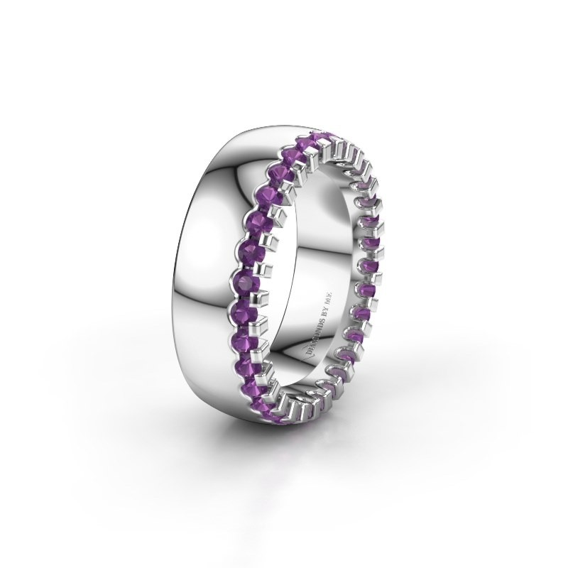 Wedding ring WH6120L27C 585 white gold amethyst ±7x2.2 mm
