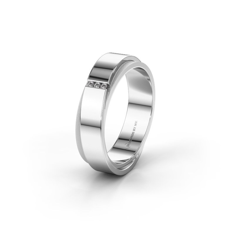 Trouwring WH6012LX6A 585 witgoud diamant ±6x1.7 mm