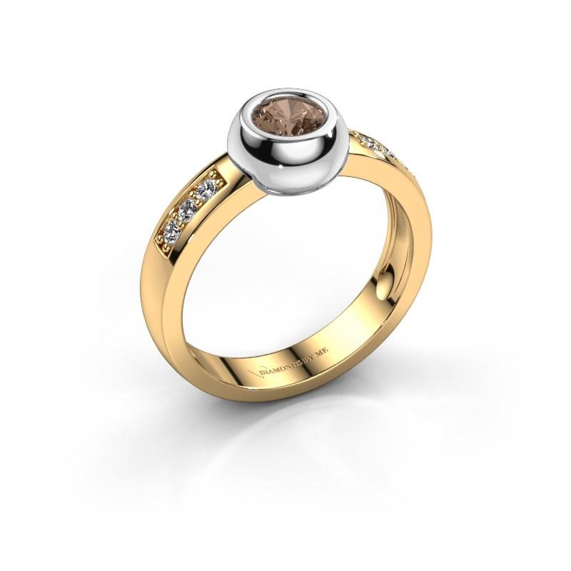 Ring Charlotte Round 585 goud bruine diamant 0.52 crt