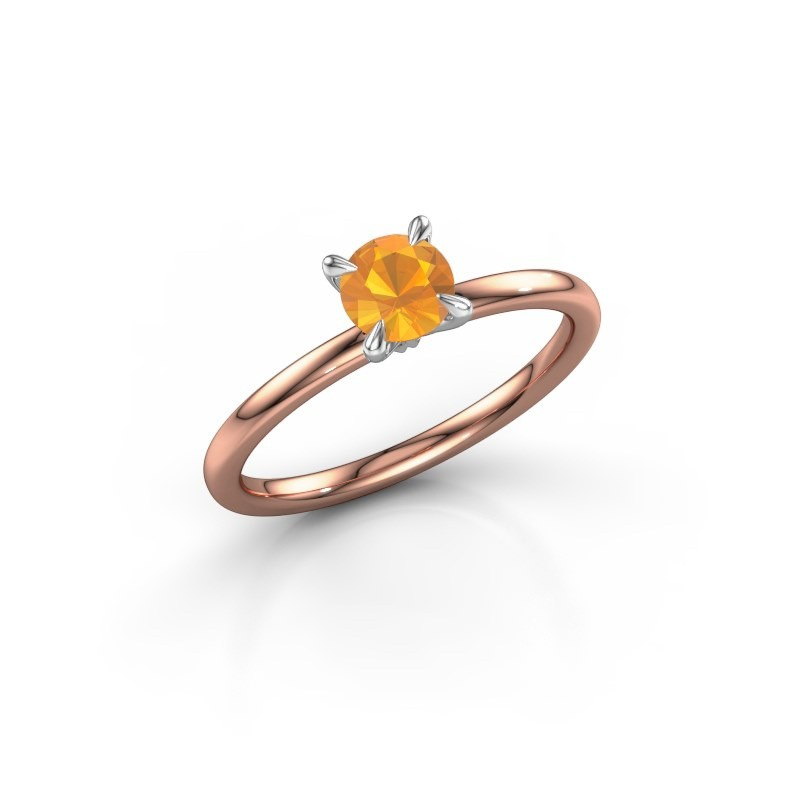 Verlovingsring Crystal RND 1 585 rosé goud citrien 5 mm