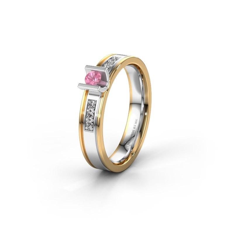 Trouwring WH2108L14A 585 witgoud roze saffier ±4x1.7 mm