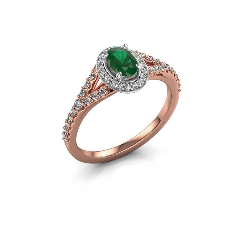 Belofte ring Pamela OVL 585 rosé goud smaragd 7x5 mm