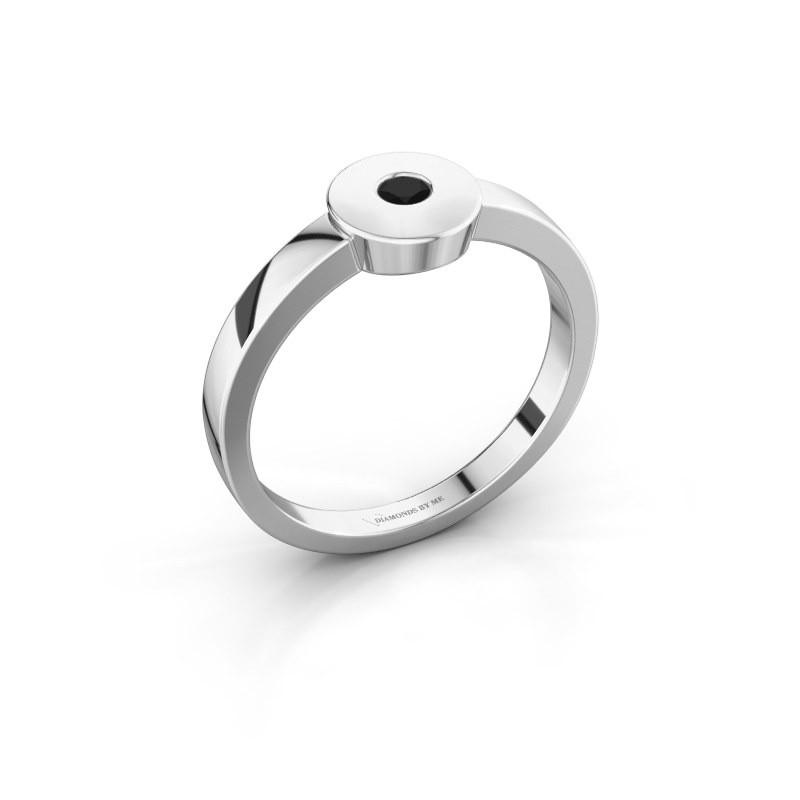 Bague Elisa 950 platine diamant noir 0.12 crt