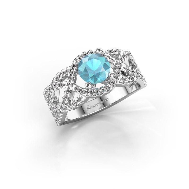 Verlovingsring Jeni 925 zilver blauw topaas 6.5 mm