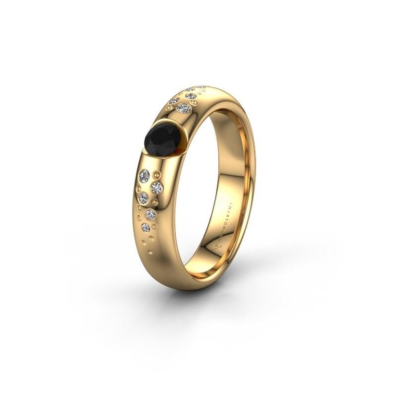 Trouwring WH2104L34A 375 goud zwarte diamant ±4x1.7 mm