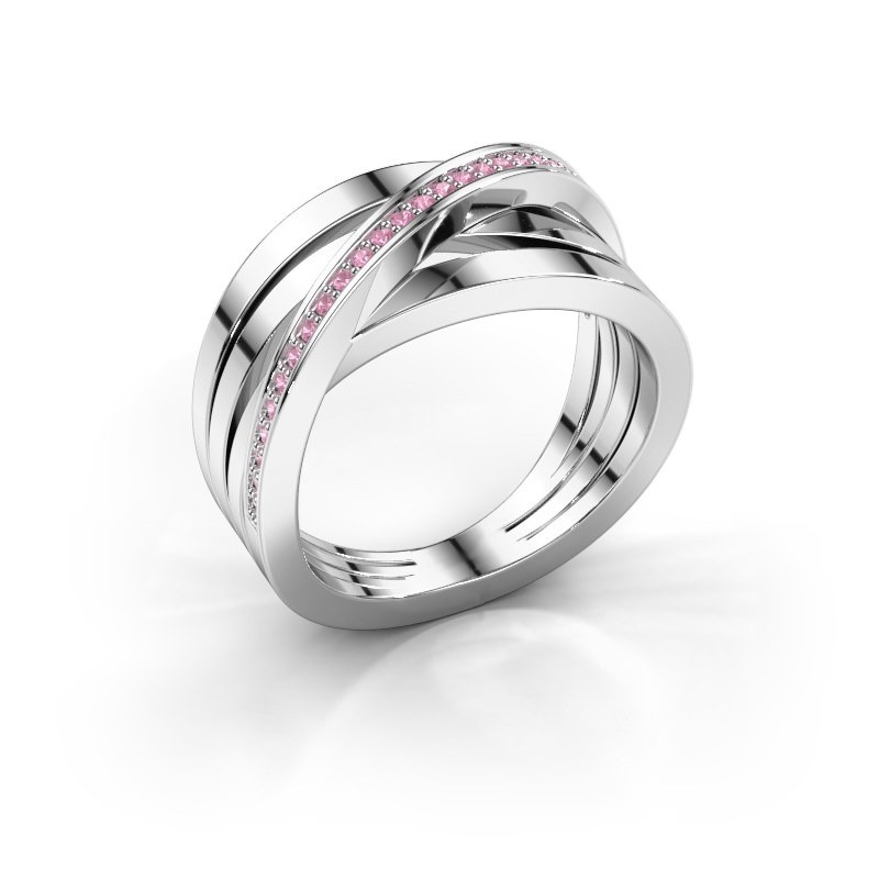Ring Esmee 585 witgoud roze saffier 1 mm
