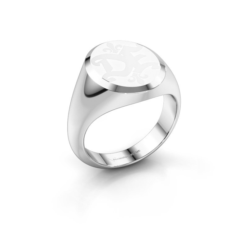 Monogram ring Xandro Emaille 950 platina witte emaille