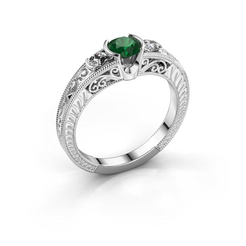 Promise ring Tasia 950 platina smaragd 5 mm