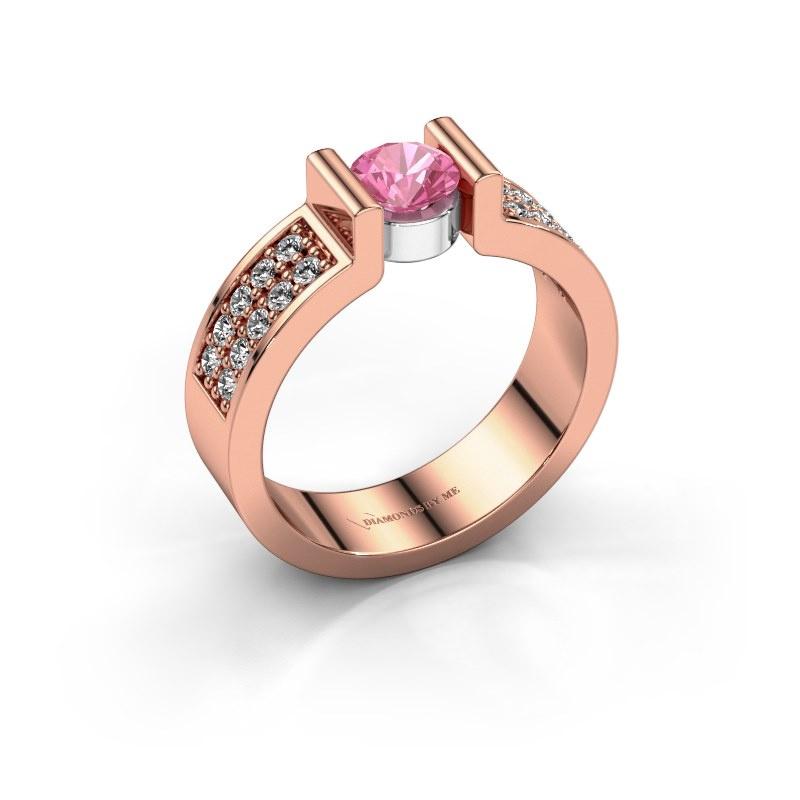 Verlovingsring Isabel 3 585 rosé goud roze saffier 5 mm