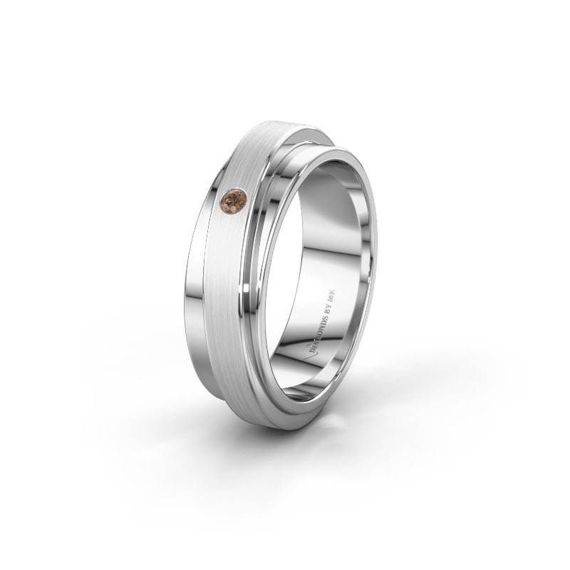 Huwelijksring WH2220L16D 585 witgoud bruine diamant ±6x2.2 mm