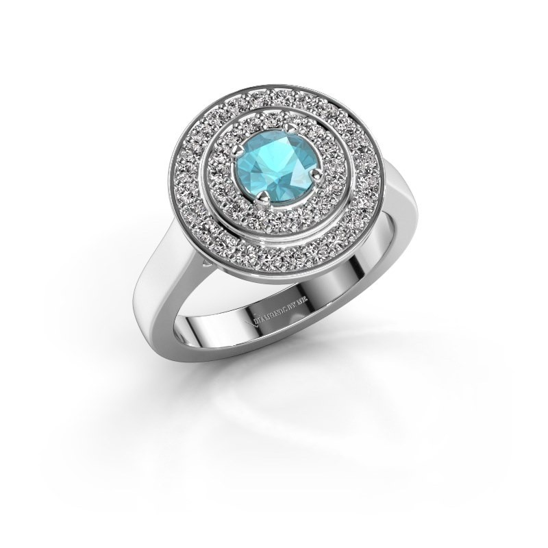 Ring Alecia 1 585 witgoud blauw topaas 5 mm