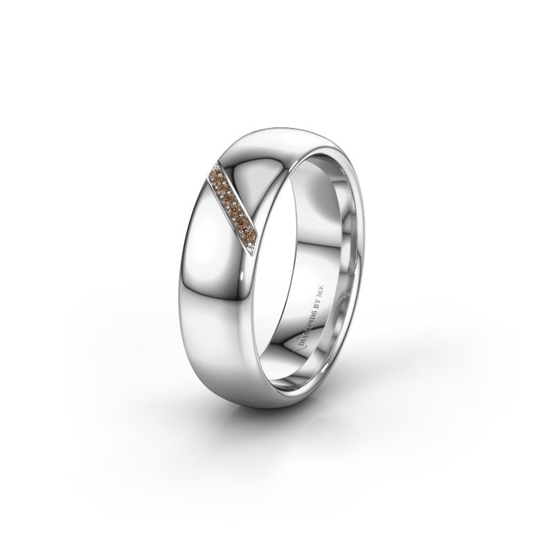 Wedding ring WH0164L36B 950 platinum brown diamond ±6x2 mm