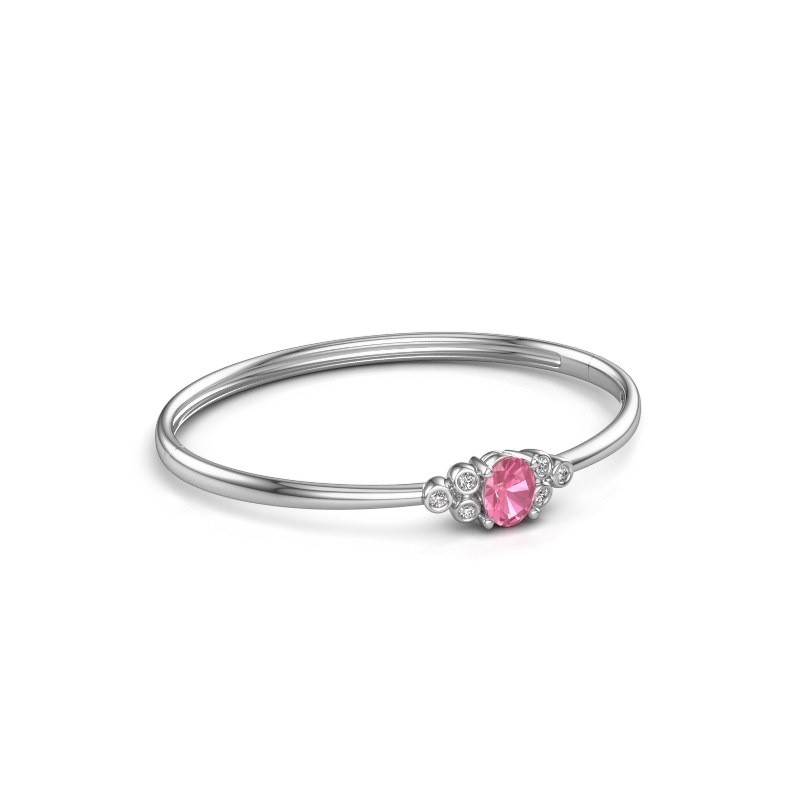 Bangle Lucy 585 white gold pink sapphire 8x6 mm