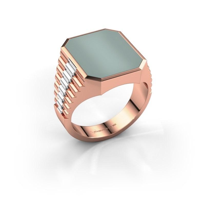 Rolex stijl ring Brent 4 585 rosé goud groene lagensteen 16x13 mm