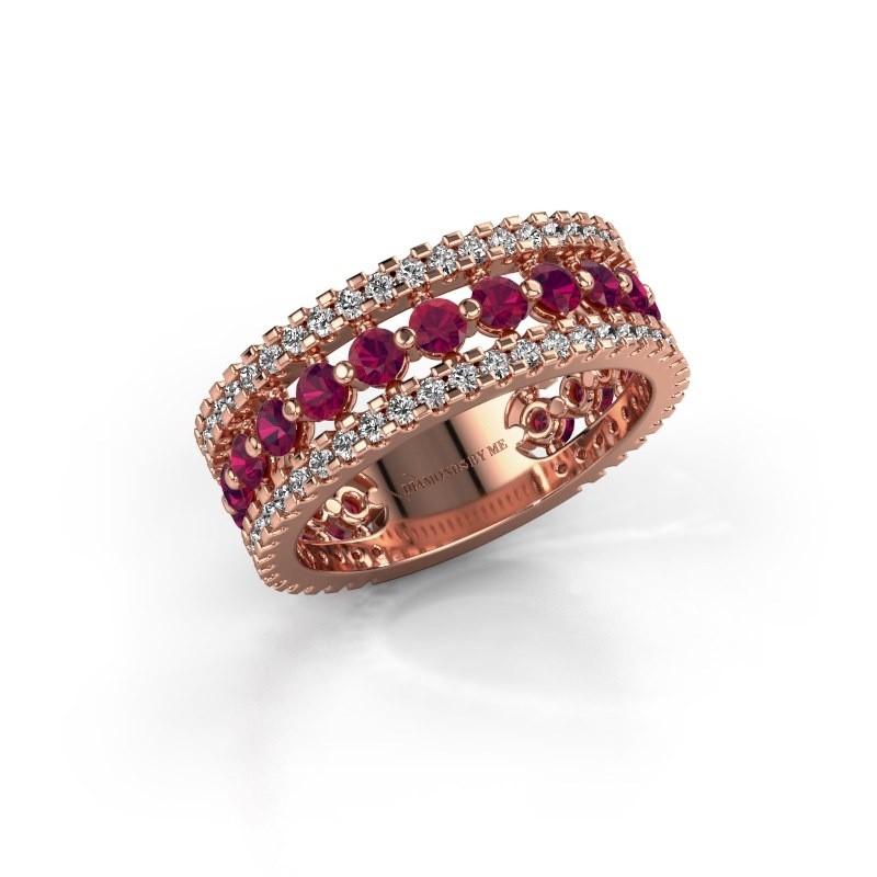 Engagement ring Elizbeth 2 375 rose gold rhodolite 2.4 mm