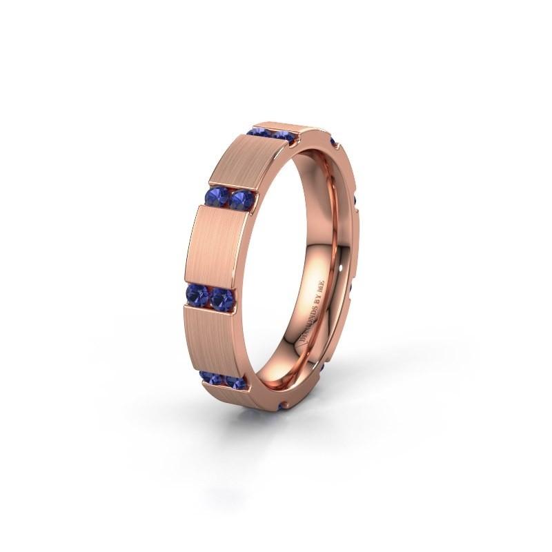Huwelijksring WH2132L14BM 375 rosé goud saffier ±4x2.2 mm