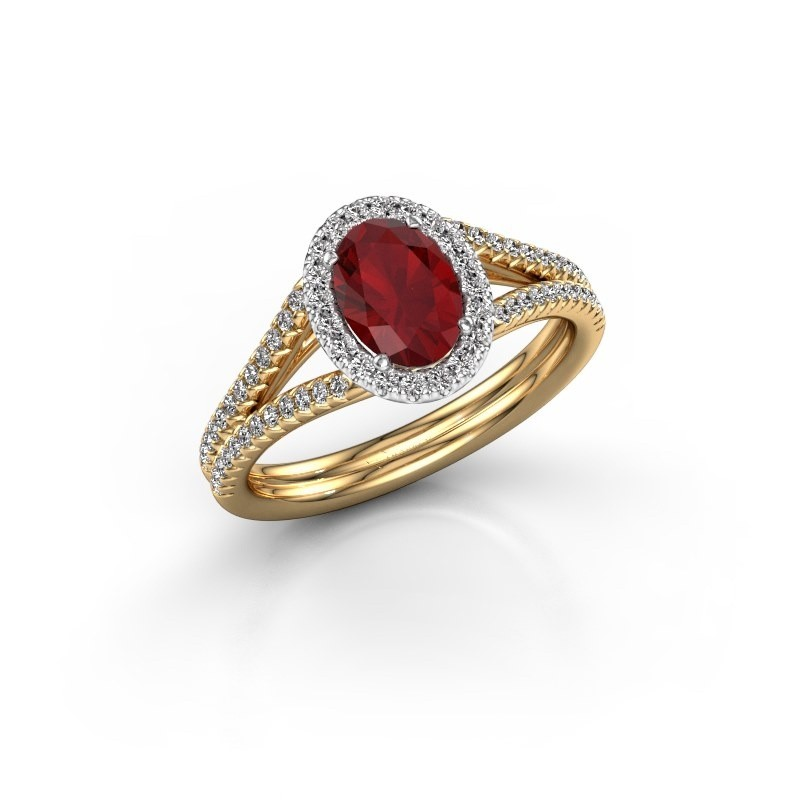 Engagement ring Rachele 2 585 gold ruby 7x5 mm