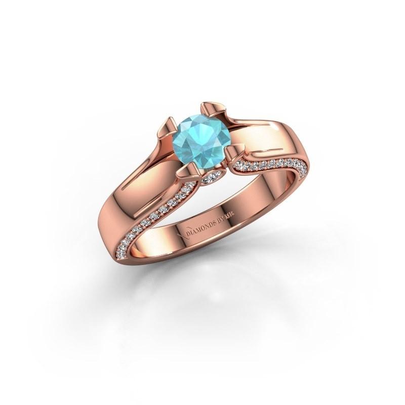 Verlovingsring Jeanne 1 375 rosé goud blauw topaas 5 mm