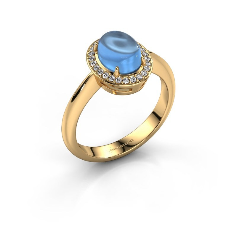 Ring Kristian 585 Gold Blau Topas 8x6 mm